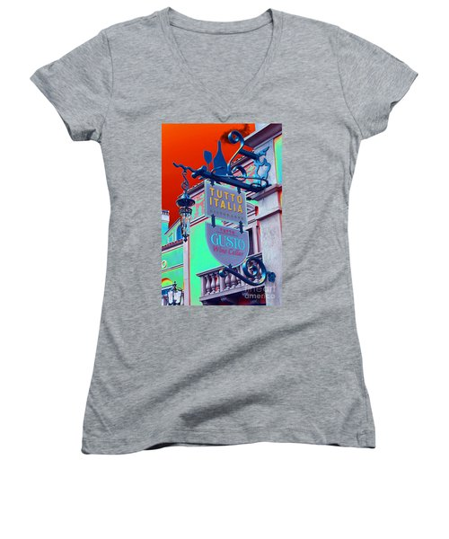 Women's V-Neck T-Shirt (Junior Cut) featuring the photograph The Wine Cellar II by Robert Meanor