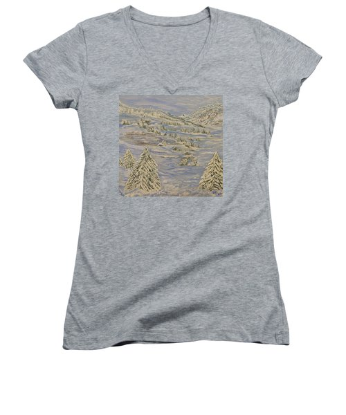 The Winter Heart Women's V-Neck T-Shirt (Junior Cut) by Felicia Tica