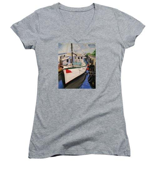 The Wooden Work Boats Women's V-Neck T-Shirt