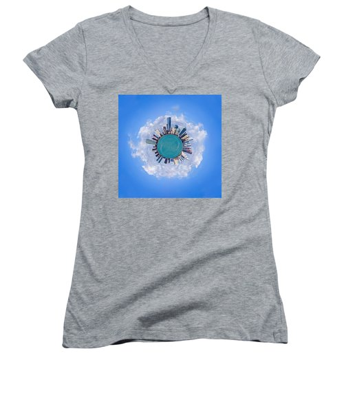 Women's V-Neck T-Shirt (Junior Cut) featuring the photograph The World Of Miami by Carsten Reisinger