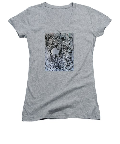 Women's V-Neck T-Shirt (Junior Cut) featuring the painting There Is A Hole In The Bucket by Michael Cross