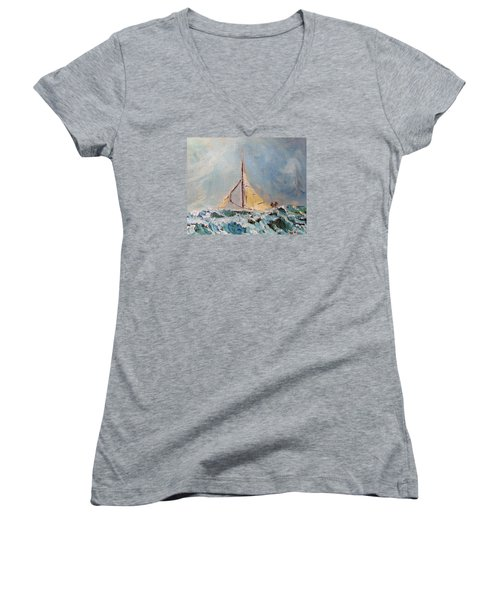 Women's V-Neck T-Shirt (Junior Cut) featuring the painting There's Always Hope by Michael Helfen