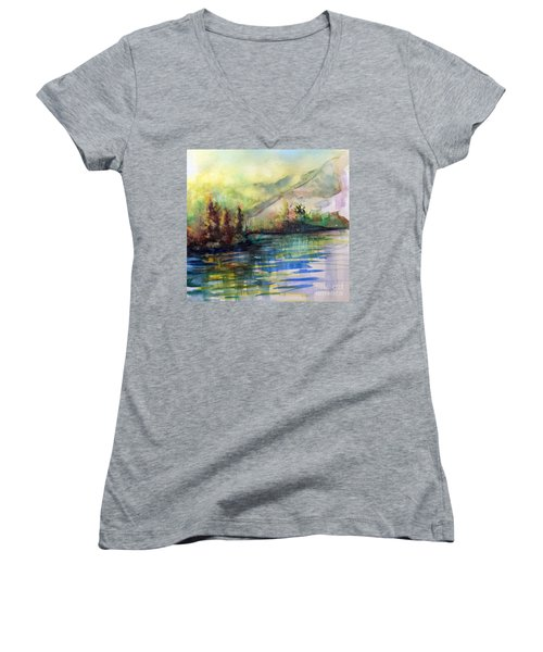 Women's V-Neck T-Shirt (Junior Cut) featuring the painting Thinking Of Sargent by Allison Ashton