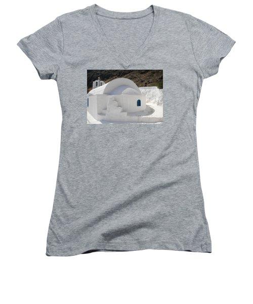Women's V-Neck T-Shirt (Junior Cut) featuring the photograph Thirasia Church Santorini Greece by Colette V Hera  Guggenheim