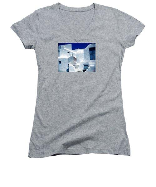 Thirasia Island Ancient House Near Santorini Greece Women's V-Neck T-Shirt (Junior Cut) by Colette V Hera  Guggenheim