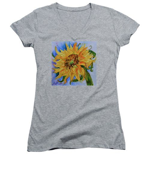 Women's V-Neck T-Shirt (Junior Cut) featuring the painting This Here Sunflower by Beverley Harper Tinsley