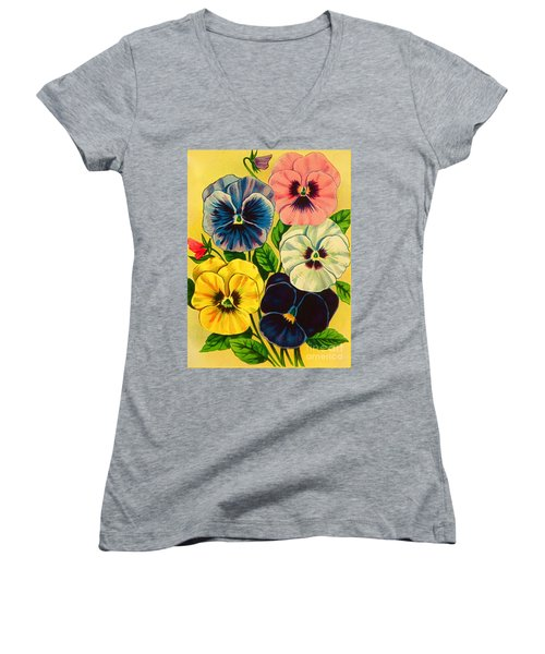 Pansy Flowers Antique Packaging Label  Women's V-Neck (Athletic Fit)