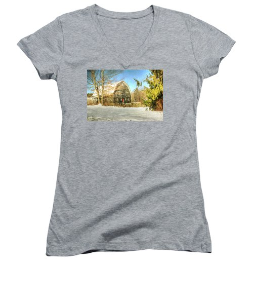 This Old Barn Women's V-Neck T-Shirt (Junior Cut) by Tina  LeCour