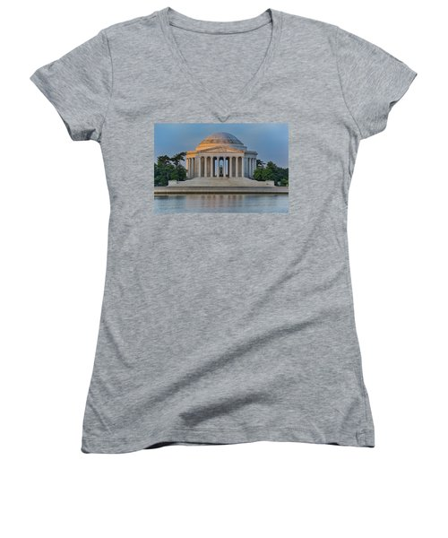 Women's V-Neck T-Shirt (Junior Cut) featuring the photograph Thomas Jefferson Memorial At Sunrise by Sebastian Musial