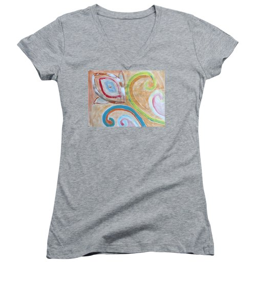 Women's V-Neck T-Shirt (Junior Cut) featuring the painting Thought by Sonali Gangane