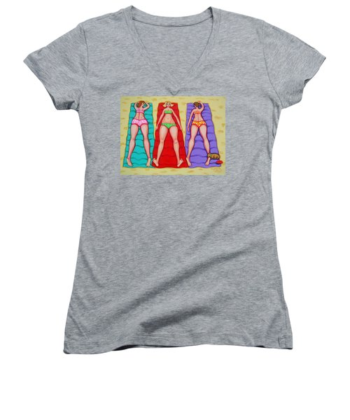 Three Bathing Beauties And Buster Women's V-Neck T-Shirt