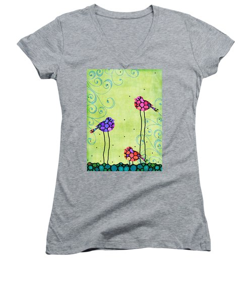 Three Birds - Spring Art By Sharon Cummings Women's V-Neck T-Shirt (Junior Cut) by Sharon Cummings