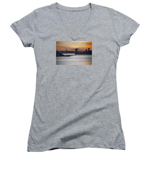 Three Bridges Women's V-Neck T-Shirt (Junior Cut) by John Schneider