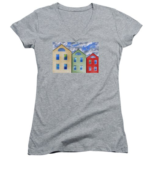Three Buildings And A Bird Women's V-Neck T-Shirt (Junior Cut) by Paul Wear