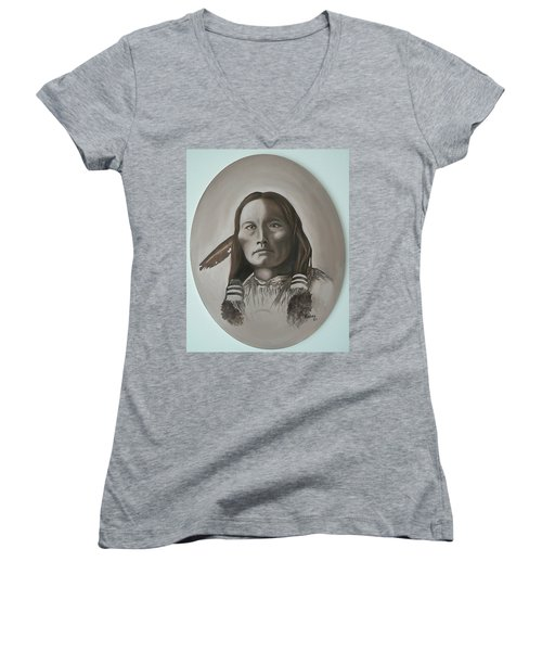 Women's V-Neck T-Shirt (Junior Cut) featuring the painting Three Fingers by Michael  TMAD Finney