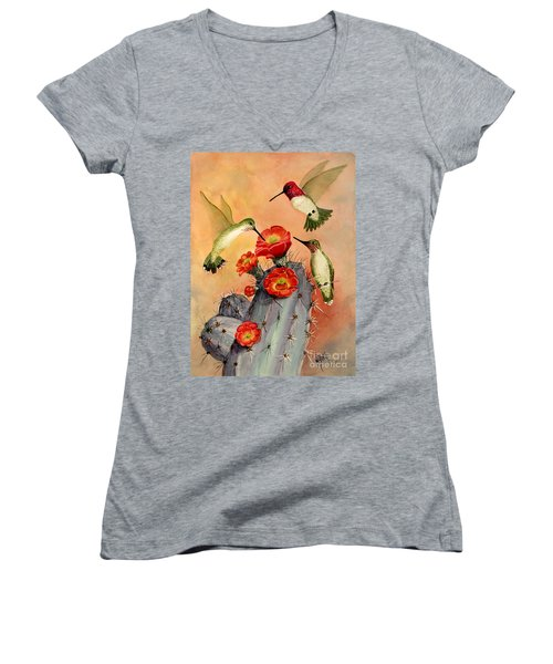 Three For Breakfast Women's V-Neck T-Shirt (Junior Cut) by Marilyn Smith