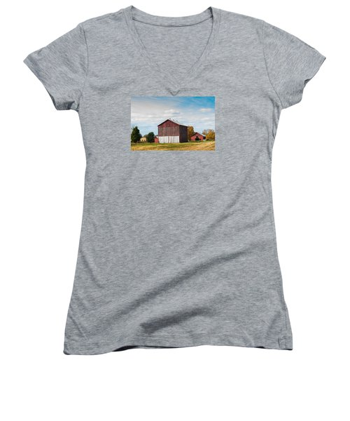 Women's V-Neck T-Shirt (Junior Cut) featuring the photograph Three In One Barns by Debbie Green