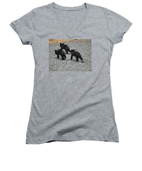 Women's V-Neck T-Shirt (Junior Cut) featuring the photograph Three Little Bears In Step by Jan Dappen