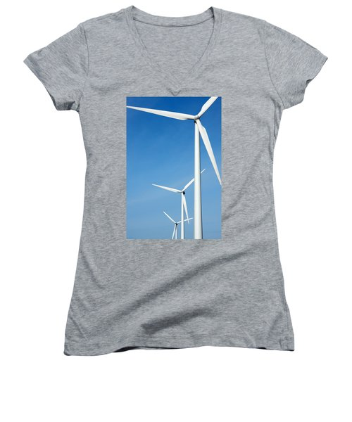 Three Mighty Windmills In A Row Against A Blue Sky. Women's V-Neck (Athletic Fit)