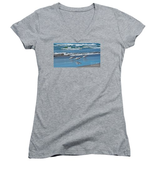 Three Seagulls At Ocean Shore Art Prints Women's V-Neck T-Shirt (Junior Cut) by Valerie Garner