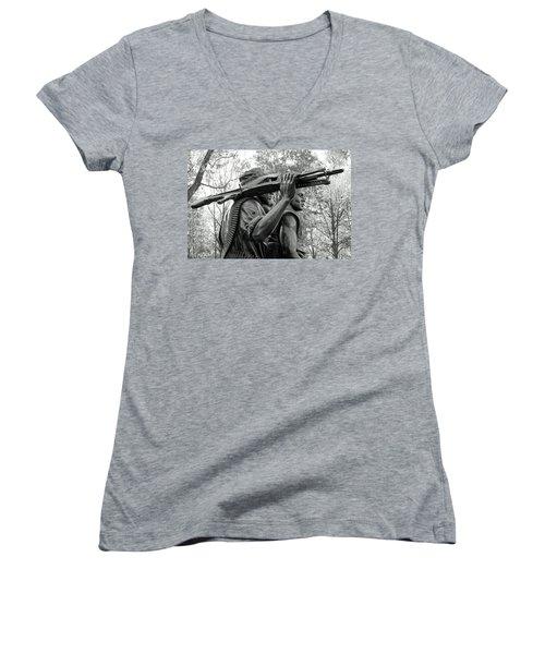 Three Soldiers In Vietnam Women's V-Neck T-Shirt (Junior Cut) by Cora Wandel