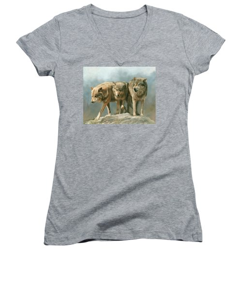 Three Wolves Women's V-Neck T-Shirt