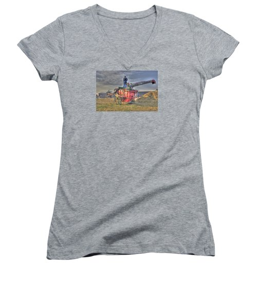 Threshing At Rollag Women's V-Neck T-Shirt (Junior Cut) by Shelly Gunderson