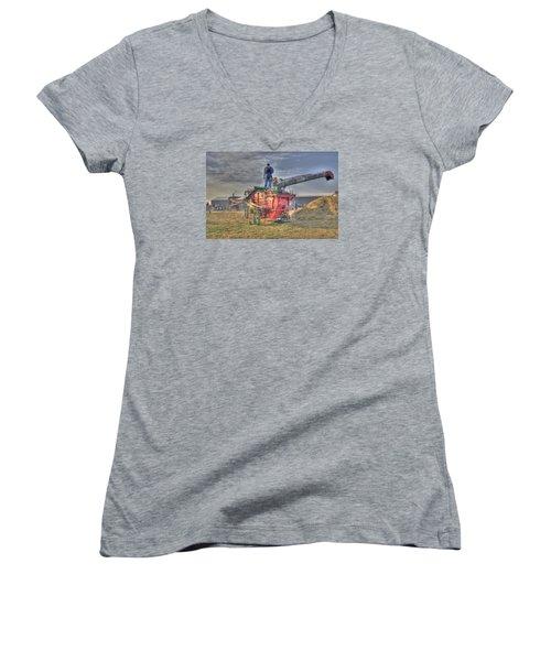 Threshing At Rollag Women's V-Neck T-Shirt