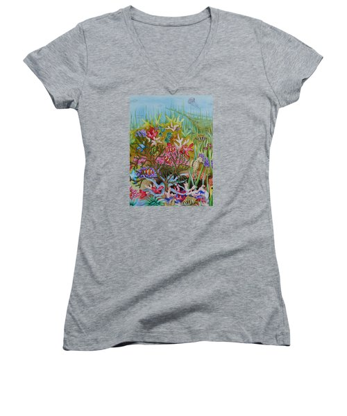 Thriving Ocean -sunken Ship Women's V-Neck T-Shirt (Junior Cut) by Katherine Young-Beck