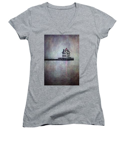 Women's V-Neck featuring the photograph Through The Evening Mist by Dale Kincaid