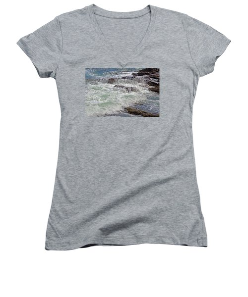 Women's V-Neck featuring the photograph Thunder And Lace by Lynda Lehmann