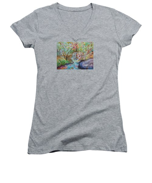 Women's V-Neck T-Shirt (Junior Cut) featuring the painting Thunder Mountain Mystery by Ellen Levinson
