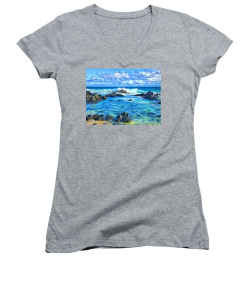 Tide Pool Near Hana Maui Women's V-Neck