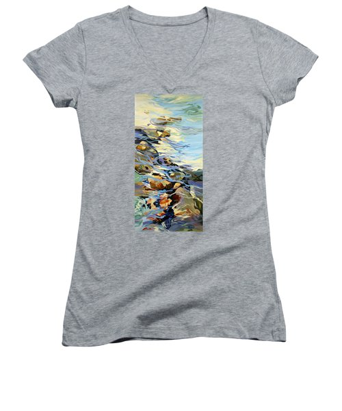 Women's V-Neck T-Shirt (Junior Cut) featuring the painting Tidepool 3 by Rae Andrews