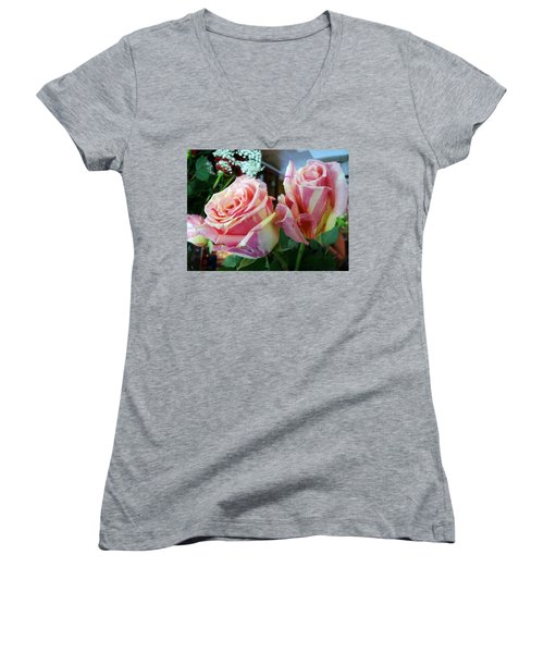Tie Dye Roses Women's V-Neck T-Shirt (Junior Cut) by Deborah Lacoste