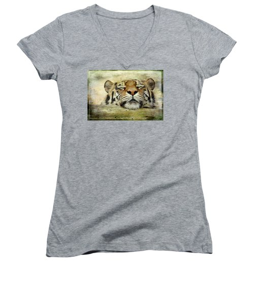 Tiger Snooze Women's V-Neck T-Shirt (Junior Cut) by Athena Mckinzie