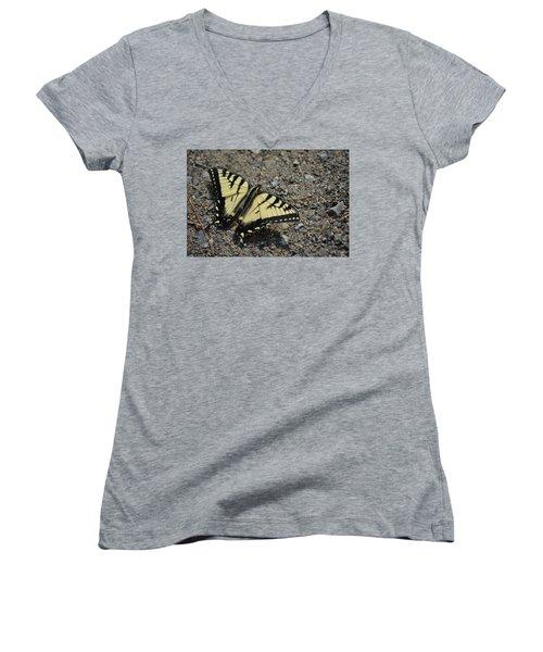 Women's V-Neck T-Shirt (Junior Cut) featuring the photograph Tiger Swallowtail by James Petersen