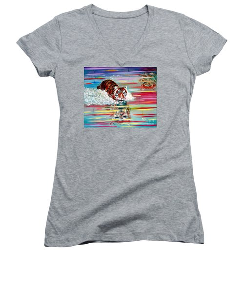 Women's V-Neck T-Shirt (Junior Cut) featuring the painting Tigers Crossing by Phyllis Kaltenbach