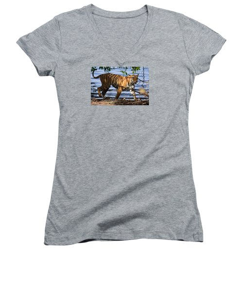 Tigress Along The Banks Women's V-Neck T-Shirt