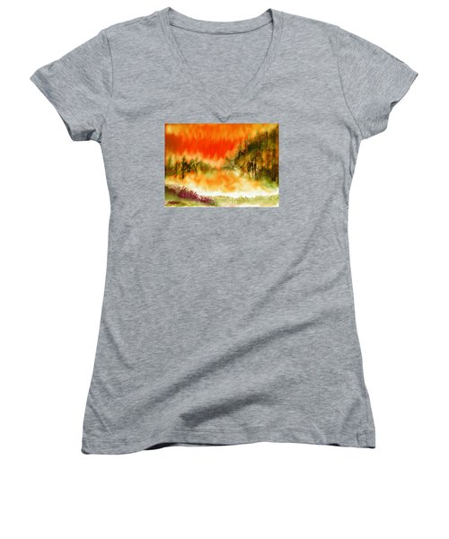Women's V-Neck T-Shirt (Junior Cut) featuring the mixed media Timber Blaze by Seth Weaver