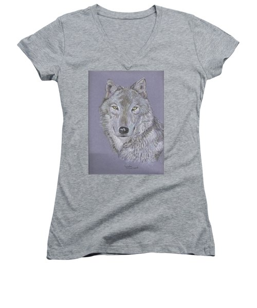 Timber Wolf Portrait Women's V-Neck (Athletic Fit)