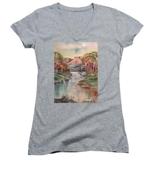 Timbercreek Canyon Dawn Women's V-Neck T-Shirt (Junior Cut) by Joan Hartenstein