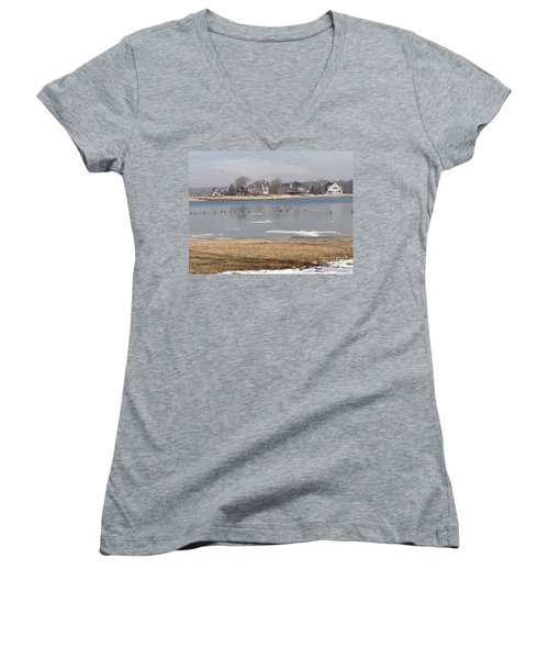 Time In New England Women's V-Neck T-Shirt