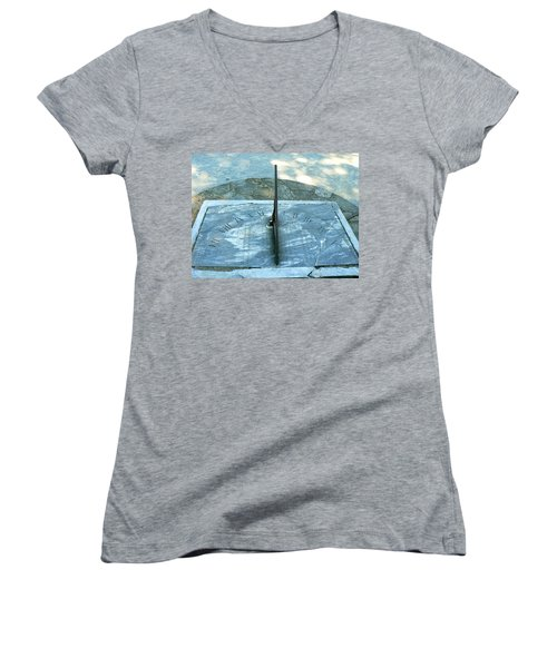 Women's V-Neck T-Shirt (Junior Cut) featuring the photograph Time Keeps On Ticking by Michael Porchik