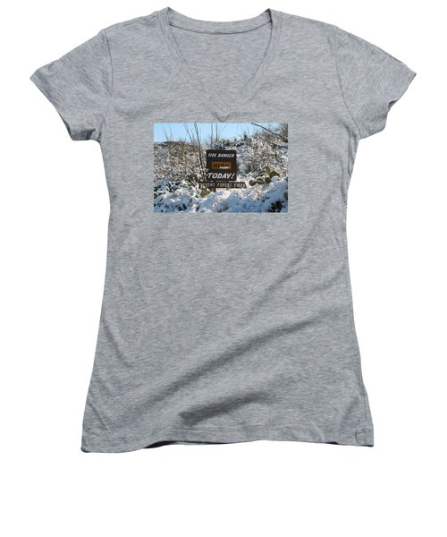 Women's V-Neck T-Shirt (Junior Cut) featuring the photograph Time To Change The Sign by David S Reynolds