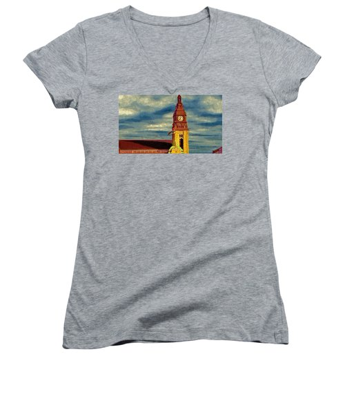 Time To Go Women's V-Neck T-Shirt (Junior Cut) by Jeff Kolker