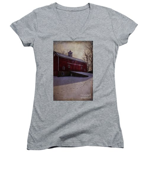 Women's V-Neck T-Shirt (Junior Cut) featuring the photograph Tinicum Barn In Winter by Debra Fedchin