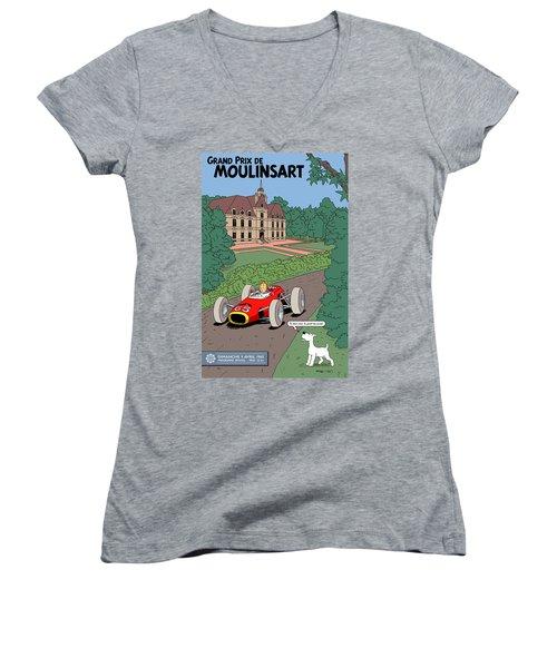 Tintin Grand Prix De Moulinsart 1965  Women's V-Neck