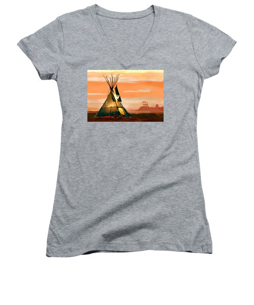 Tipi Or Tepee Monument Valley Women's V-Neck