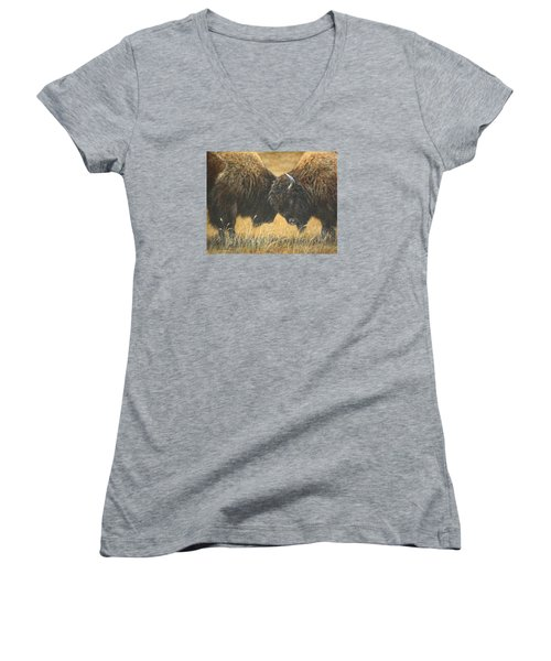 Women's V-Neck T-Shirt (Junior Cut) featuring the painting Titans Of The Plains by Kim Lockman